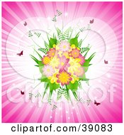 Pretty Fern And Pink And Yellow Daisy Bouquet With Butterflies On A Bursting Pink Background