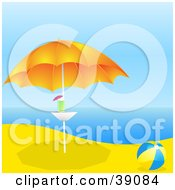 Clipart Illustration Of A Blue And Yellow Beach Ball Beside A Cocktail On A Table Under An Umbrella On A Tropical Beach by elaineitalia