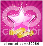 Blank Banner Below A Shiny Pink Star With A Sparkling Background