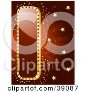 Clipart Illustration Of A Shiny Red And Gold Theater Sign With Golden Stars And A Bursting Red Background