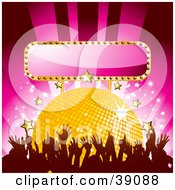 Clipart Illustration Of A Dancing Crowd In Front Of A Yellow Disco Ball With Gold And White Stars And A Blank Pink Sign by elaineitalia