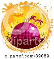 Clipart Illustration Of A Party Crowd With A Disco Ball Stars Palm Trees And A Plane In A Grunge Circle by elaineitalia