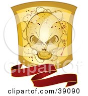 Clipart Illustration Of A Wavy Red Banner With A Grunge Gold Skull Shield