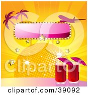 Clipart Illustration Of A Two Red Cocktails By A Disco Ball With Stars A Blank Sign Palm Trees And A Plane by elaineitalia