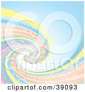 Clipart Illustration Of A Pastel Spiraling Rainbow With Sparkles On A Blue Background
