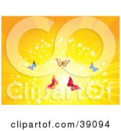 Clipart Illustration Of A Yellow Butterfly Burst by elaineitalia