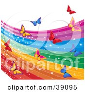 Clipart Illustration Of A Magical Sparkling Rainbow And Colorful Butterflies