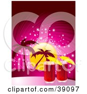 Clipart Illustration Of Two Red Cocktails With Umbrellas Against A Tropical Sunset With A Pink Sparkling Sky