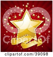 Clipart Illustration Of A Blank Wavy Banner Below A Shiny Golden Star With A Red And Gold Bursting Background by elaineitalia