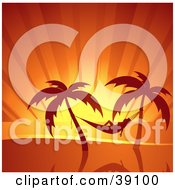 Clipart Illustration Of A Woman Relaxing In A Hammock Suspended Between Palm Trees Silhouetted At Sunset by elaineitalia