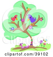 Clipart Illustration Of A Flowering Tree With Two Birds A Worm And A Honey Bee by bpearth
