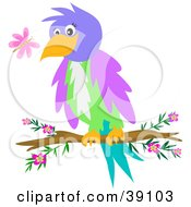 Clipart Illustration Of A Friendly Parrot Watching A Butterfly While Perched On A Branch by bpearth