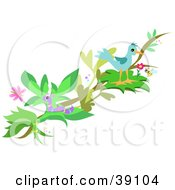 Clipart Illustration Of A Bird Perched On A Tree Branch With A Worm Honey Bee And Butterfly by bpearth