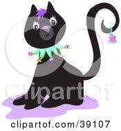 Clipart Illustration Of A Friendly Black Kitty Cat With Purple Hair Holding A Heart On Its Tail by bpearth