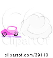 Clipart Illustration Of A Pink Car With Terrible Exhaust Polluting The Environment With A Cloud Of Smoke