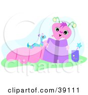 Clipart Illustration Of A Pink Mother Worm Reading To Her Baby