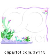 Clipart Illustration Of A Blue Worm Wandering Between Flowers And Plants On A Floral Border by bpearth