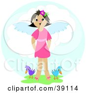 Clipart Illustration Of A Happy Angel Girl Standing In Grass With Two Birds In Heaven