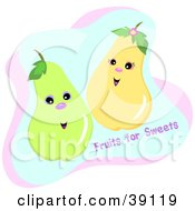 Clipart Illustration Of A Couple Of Happy Pears With Fruits For Sweets Text by bpearth