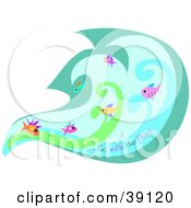 Clipart Illustration Of A Group Of Fish Swimming In A Current Underwater With Go With The Flow Text by bpearth