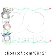 Clipart Illustration Of A Border Of Hearts Flowers And Three Mice by bpearth