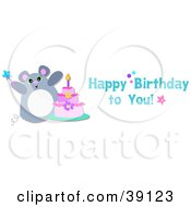 Clipart Illustration Of A Happy Birthday To You Greeting With A Mouse And A Cake by bpearth