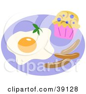 Clipart Illustration Of A Breakfast Meal Served With Fried Eggs A Blueberry Muffin And Sausage Links by bpearth