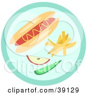 Clipart Illustration Of A Hot Dog Garnished With Mustard And Served With Fruit by bpearth