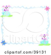 Clipart Illustration Of A Blue Wavy Border With Butterflies Rabbits And Easter Eggs