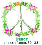 Clipart Illustration Of A Peace Symbol Made Of Bamboo And Colorful Hibiscus Flowers by bpearth