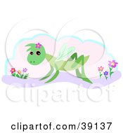 Clipart Illustration Of A Cute Green Grasshopper Wearing A Flower On Its Head by bpearth
