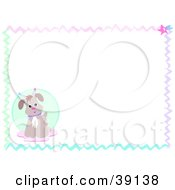 Clipart Illustration Of A Colorful Wavy Border With An Alien Dog by bpearth