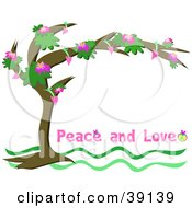 Clipart Illustration Of A Flowering Tree Arching Over A White Background With Peace And Love Text by bpearth