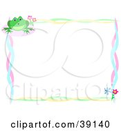 Clipart Illustration Of A Wavy Colorful Border With Flowers Dragonflies And A Frog