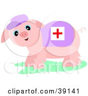 Clipart Illustration Of A Pink Medic Pig Wearing A Cross Blanket And A Hat by bpearth