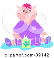 Clipart Illustration Of A Sick Pig With The Flu A Thermometer In Its Mouth Sitting With A Box Of Tissues by bpearth