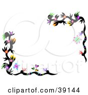 Border Of Colorful Flowering Black Plant With Butterflies And Hearts