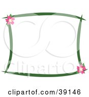 Stationery Border Of Dark Green Lines And Pink Hibiscus Flowers