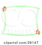 Stationery Border Of Green Lines And Orange Hibiscus Flowers