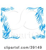 Clipart Illustration Of A Leafy Blue Floral Border With Thick Branches by bpearth