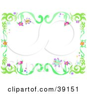 Clipart Illustration Of A Spring Floral Vine Border With Flowers And Butterflies Over White by bpearth