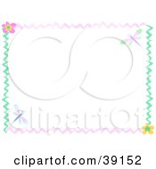 Clipart Illustration Of A Wavy Pink And Green Border With Flowers And Dragonflies by bpearth
