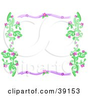 Purple And Green Border Of Vines And Flowers