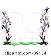 Clipart Illustration Of A Wavy Green And Black Flowering Plant Border On White by bpearth