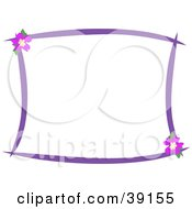 Stationery Border Of Purple Lines And Hibiscus Flowers