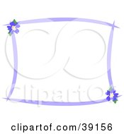 Stationery Border Of Purple Lines And Blue Hibiscus Flowers