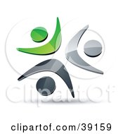 Clipart Illustration Of A Pre Made Logo Of Three Green Chrome And Black People Celebrating Or Dancing