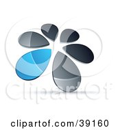 Clipart Illustration Of A Circle Of Chrome And Blue Droplets Forming A Windmill