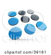 Clipart Illustration Of A Pre Made Logo Of Rows Of Blue And Black Dots