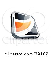 Clipart Illustration Of A Pre Made Logo Of A Black Square Button With An Orange Wave